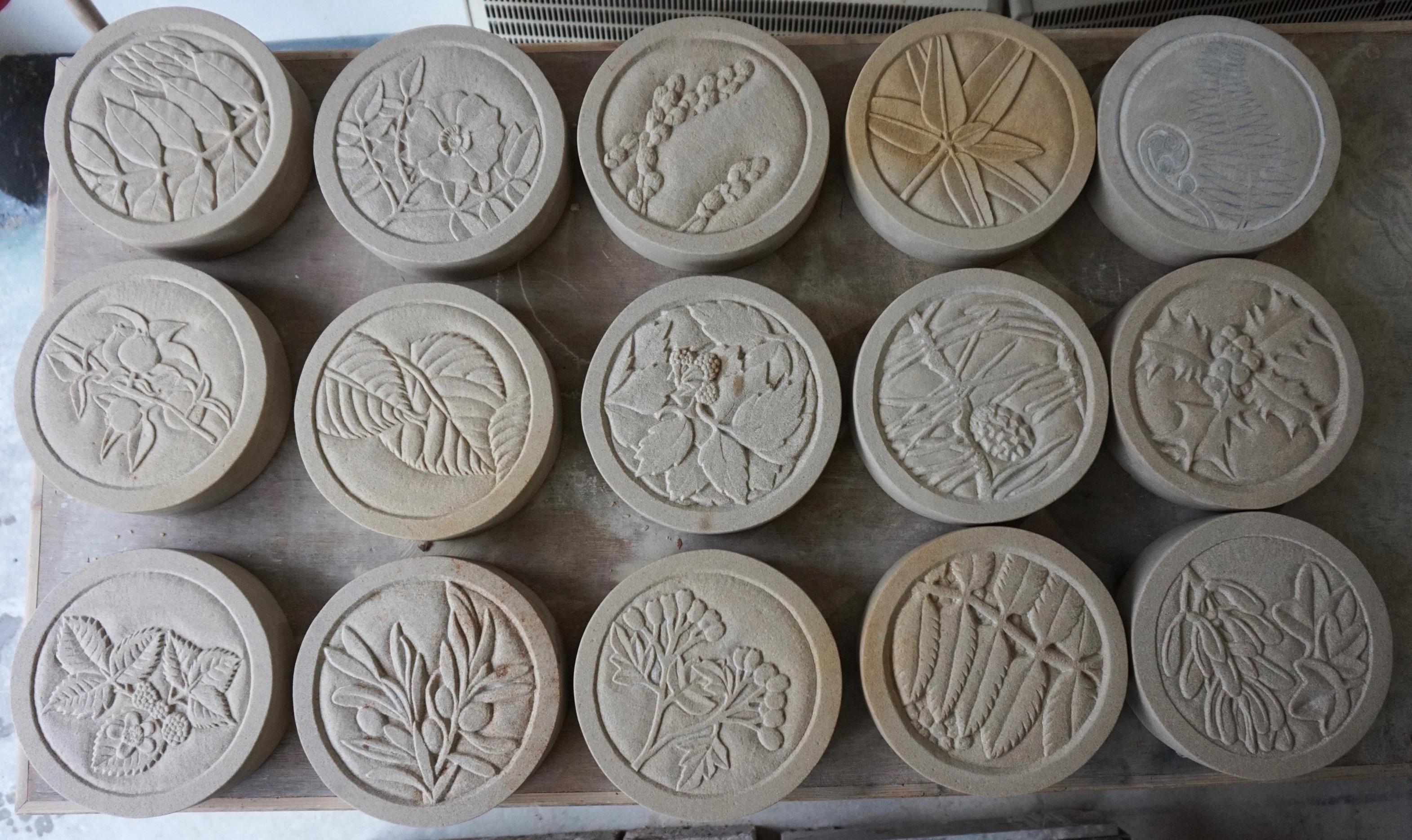 Botanical Roundels - Mary Bourne with Historic Environment Scotland apprentice masons